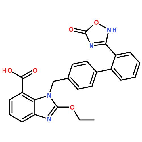 阿齐沙坦; 2-乙氧基-1-[[2'-(4,5-二氢-5-氧代-1,2,4-恶二唑-3-基)联苯-4-基]甲基]苯并咪唑-7-羧酸