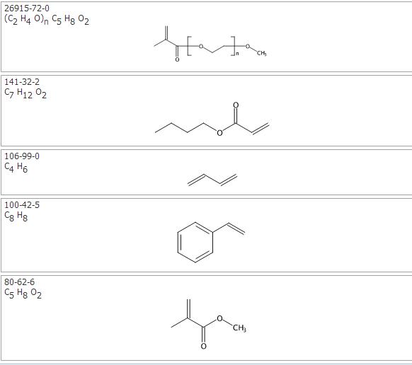 2-甲基-2-丙烯酸甲酯与1,3-丁二烯,2-丙烯酸丁酯,苯乙烯和Α-(2-甲基