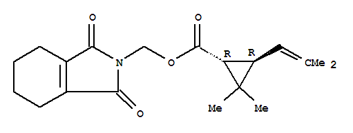 Cyclopropanecarboxylicacid, 2,2-dimethyl-3-(2-methyl-1-propen-1-yl)-,(1,3,4,5,6,7-hexahydro-1,3-dioxo-2H-isoindol-2-yl)methyl ester, (1R,3R)-;Cyclopropanecarboxylicacid, 2,2-dimethyl-3-(2-methyl-1-propenyl)-,(1,3,4,5,6,7-hexahydro-1,3-dioxo-2H-isoindol-2-yl)methyl ester, (1R,3R)- (9CI);Cyclopropanecarboxylic acid, 2,2-dimethyl-3-(2-methyl-1-propenyl)-,(1,3,4,5,6,7-hexahydro-1,3-dioxo-2H-isoindol-2-yl)methyl ester, (1R-trans)-;Cyclopropanecarboxylic acid, 2,2-dimethyl-3-(2-methylpropenyl)-, ester withN-(hydroxymethyl)-1-cyclohexene-1,2-dicarboximide, trans-(+)- (8CI);(+)-trans-Tetramethrin; (3,4,5,6-Tetrahydrophthalimido)methyld-trans-chrysanthemate; 1R-trans-Tetramethrin;3,4,5,6-Tetrahydrophthalimidomethyl (+)-trans-chrysanthemate; Biotetramethrin;d-trans-Tetramethrin;