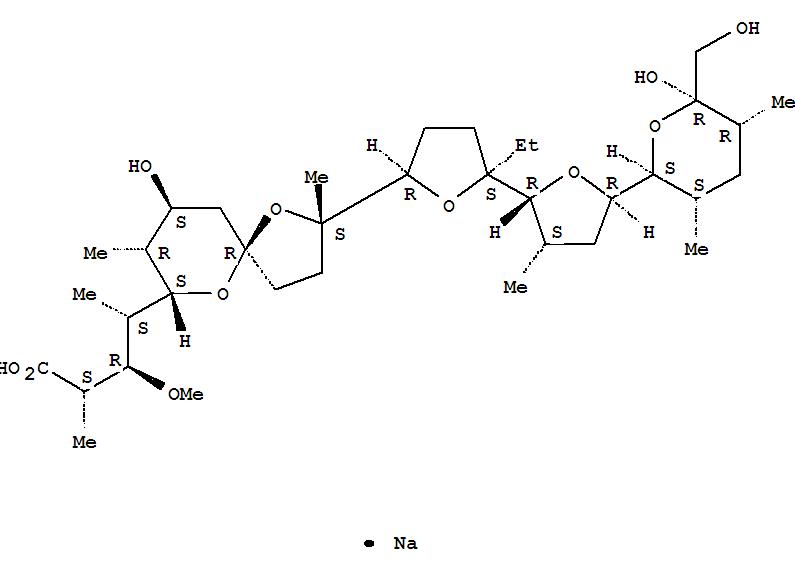 Coban;   Coban 45;   CRC Rumensin;   Monensin A sodium salt;   Monensin sodium salt;   Monensin,monosodium salt (9CI);   Rumensin;   Sodium monensin;  1,6-Dioxaspiro[4.5]decane-7-butyricacid,2-[5-ethyltetrahydro-5-[tetrahydro-3-methyl-5-[tetrahydro-6-hydroxy-6-(hydroxymethyl)-3,5-dimethyl-2H-pyran-2-yl]-2-furyl]-2-furyl]-9-hydroxy-b-methoxy-a,g,2,8-tetramethyl-, monosodium salt (8CI);  Monensin sodium;  Monensin, sodium salt(1:1);  克珠利预混剂;  莫能菌素钠;  莫能菌素钠 BR (-);  莫能菌素钠盐;  莫能菌素预混剂;  莫能菌酸钠;  莫能菌酸钠/莫能星钠/摩能霉素钠/莫能霉素钠/莫能菌素钠;  莫能霉素钠;  莫能霉素钠盐;