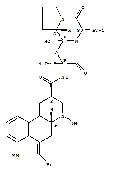 溴隐亭; 2-溴-12'-羟基-5'-alpha-异丁基-2'-异丙基麦角胺-3',6',18-三酮