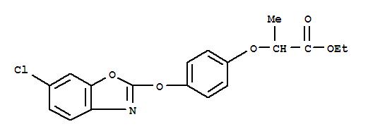 恶唑禾草灵;Propanoic acid,2-[4-[(6-chloro-2-benzoxazolyl)oxy]phenoxy]-, ethyl ester;Propanoicacid, 2-[4-[(6-chloro-2-benzoxazolyl)oxy]phenoxy]-, ethyl ester, (?à)-; (?à)-Fenoxaprop-ethyl; Acclaim; Acclaim (herbicide);Ethyl 2-[4-(6-chlorobenzoxazolyl-2-oxy)phenoxy]propionate; Fenoxaprop ethylester; Fenoxaprop-ethyl; Furore; HOE 33171; HOE-A 25-01; Puma; Puma(herbicide); Puma S; Whip;噁唑禾草灵;D-恶唑禾草灵;