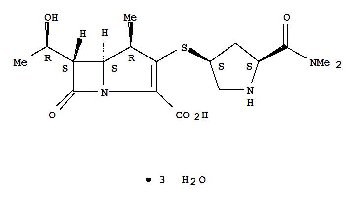 美洛培南; 3-[5-(二甲基氨基甲酰基)哌啶-3-基]硫]-6-(1-羟乙基)-4-甲基-7-氧代-1-氮杂二环[3.2.0]庚-2-烯-2-甲酸