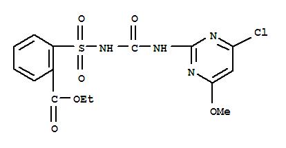 Benzoicacid, 2-[[[[(4-chloro-6-methoxy-2-pyrimidinyl)amino]carbonyl]amino]sulfonyl]-,ethyl ester;Chlorimuronethyl ester; Chlorimuron-ethyl; Classic; Classic 25DF; DPX-F 6025; Ethyl2-[N-[N-(4-chloro-6-methoxypyrimidin-2-yl)carbamoyl]sulfamoyl]benzoate; HIT25VP;氯嘧磺隆;氯嘧黄隆;