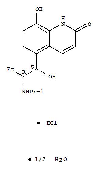 2(1H)-Quinolinone,8-hydroxy-5-[(1R,2S)-1-hydroxy-2-[(1-methylethyl)amino]butyl]-, hydrochloride,hydrate (2:2:1), rel-