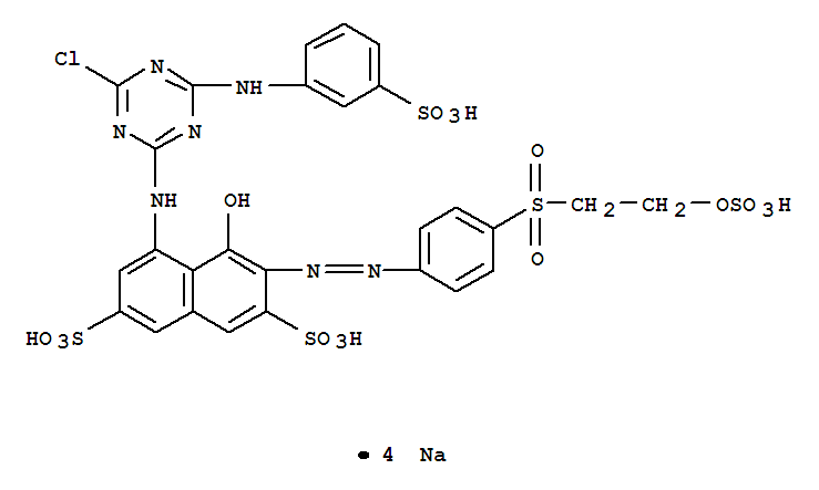 活性红M-RBE;2,7-Naphthalenedisulfonicacid,5-[[4-chloro-6-[(3-sulfophenyl)amino]-1,3,5-triazin-2-yl]amino]-4-hydroxy-3-[2-[4-[[2-(sulfooxy)ethyl]sulfonyl]phenyl]diazenyl]-,sodium salt (1:4);2,7-Naphthalenedisulfonicacid,5-[[4-chloro-6-[(3-sulfophenyl)amino]-1,3,5-triazin-2-yl]amino]-4-hydroxy-3-[[4-[[2-(sulfooxy)ethyl]sulfonyl]phenyl]azo]-,tetrasodium salt (9CI); C.I. 18221; C.I. Reactive Red 198; Everzol Red RBN;Helaktyn Red RB; Reactive Red 198; Reactive Red RB; Remazol Red RB; Remazol RedRB 133;活性红198;